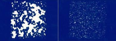 Coated surface after multi-stone impact test (DBL 5400) - Left: Substrate without electron treatment, Right: Substrate pretreated with electrons before coating (Picture: Wörwag)