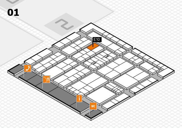 K 2016 hall map (Hall 1): stand E10