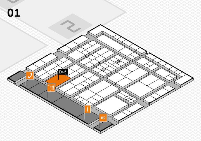 K 2016 hall map (Hall 1): stand D45