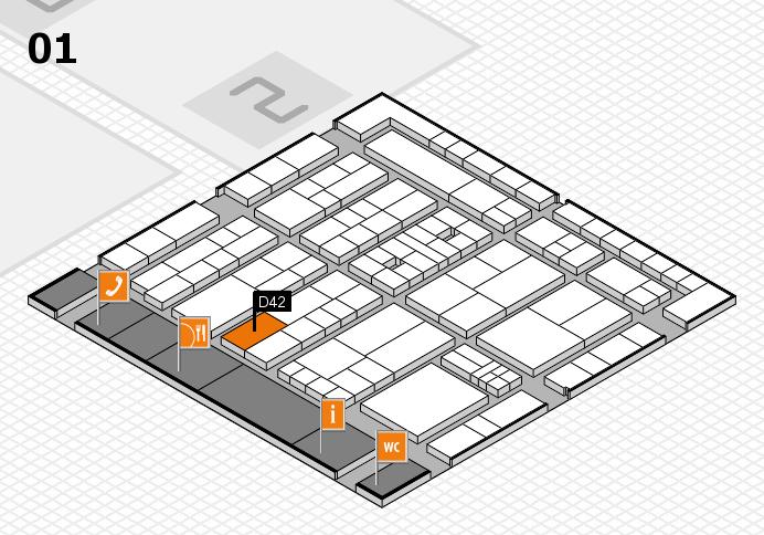 K 2016 hall map (Hall 1): stand D42