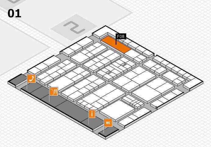 K 2016 hall map (Hall 1): stand F08