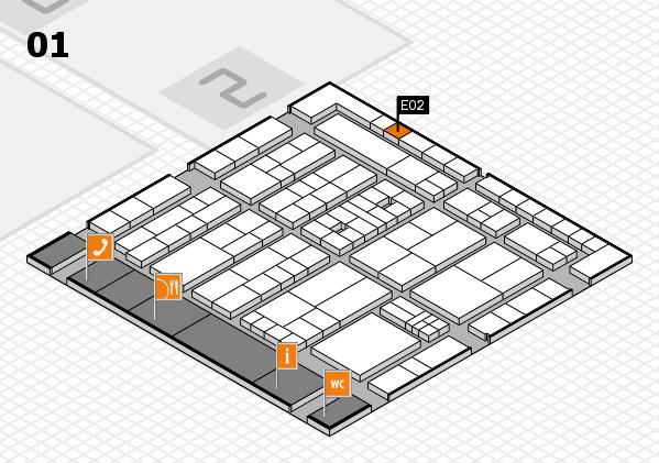 K 2016 hall map (Hall 1): stand E02
