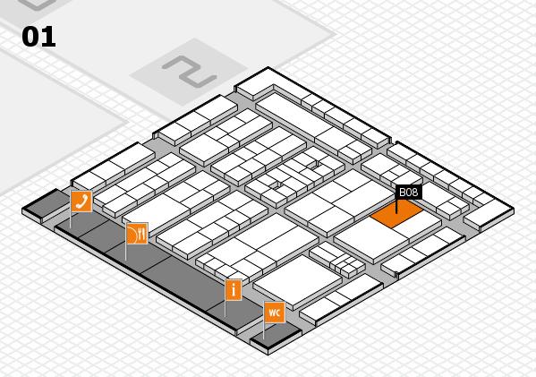 K 2016 hall map (Hall 1): stand B08