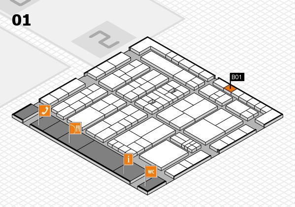K 2016 hall map (Hall 1): stand B01