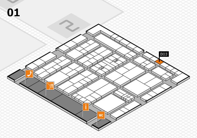 K 2016 hall map (Hall 1): stand B03