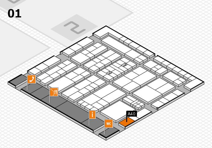 K 2016 hall map (Hall 1): stand A40