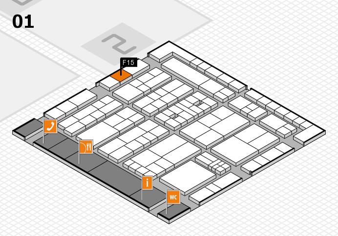 K 2016 hall map (Hall 1): stand F15