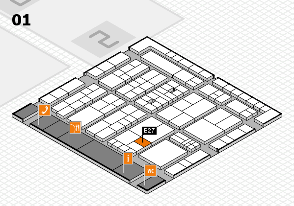 K 2016 hall map (Hall 1): stand B27