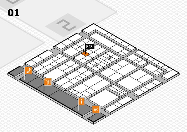 K 2016 hall map (Hall 1): stand E18