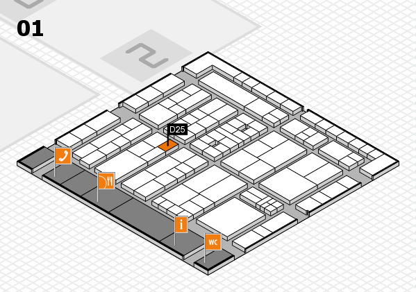 K 2016 hall map (Hall 1): stand D25