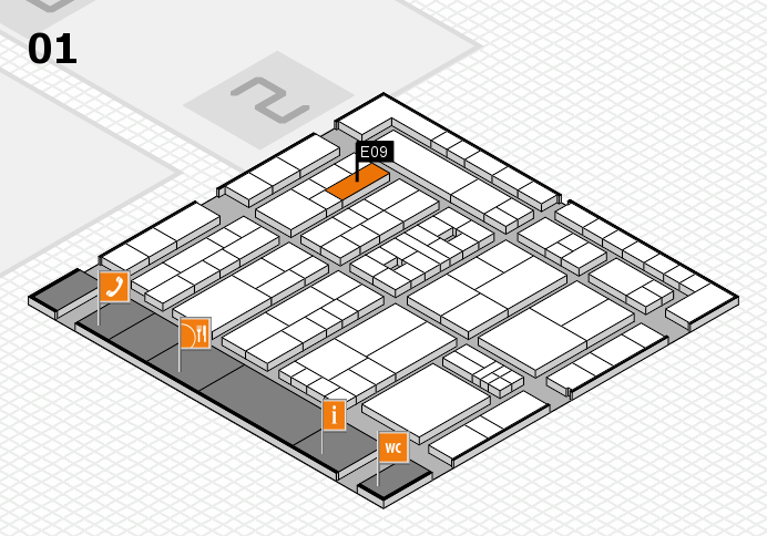 K 2016 hall map (Hall 1): stand E09