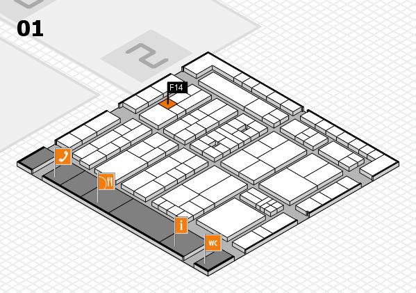 K 2016 hall map (Hall 1): stand F14