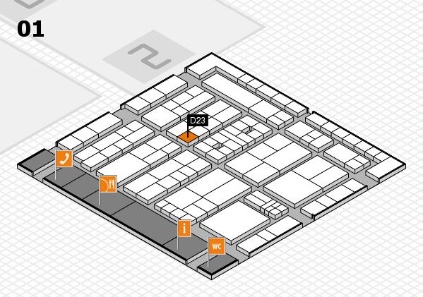K 2016 hall map (Hall 1): stand D23