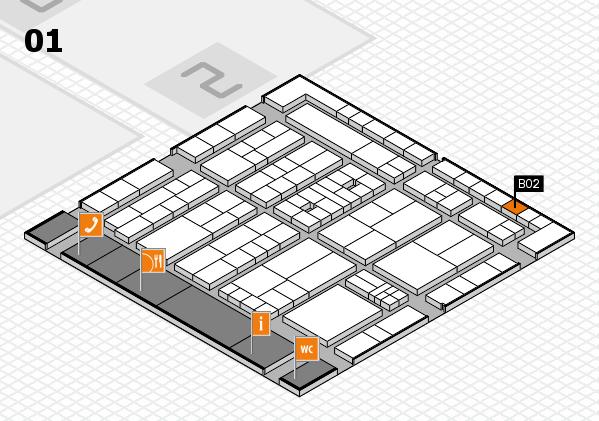 K 2016 hall map (Hall 1): stand B02