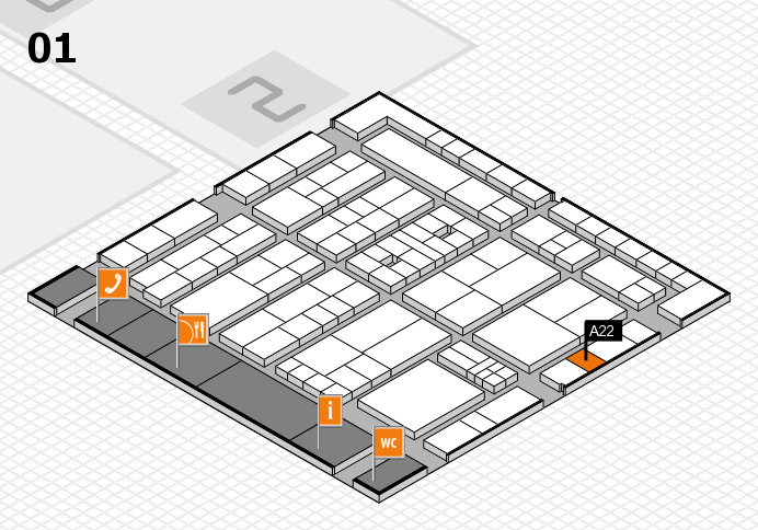 K 2016 hall map (Hall 1): stand A22