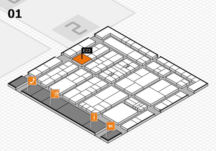 K 2016 hall map (Hall 1): stand E23