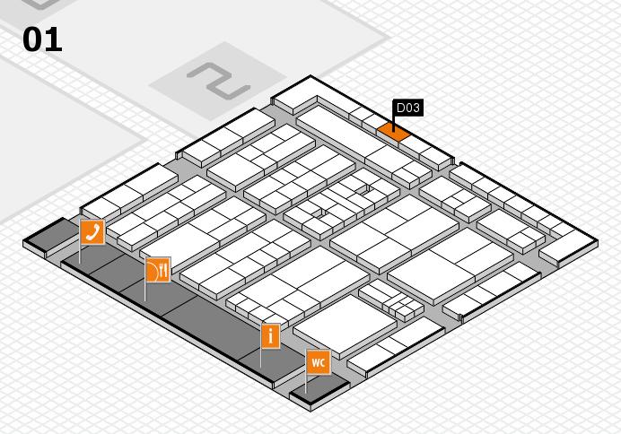 K 2016 hall map (Hall 1): stand D03
