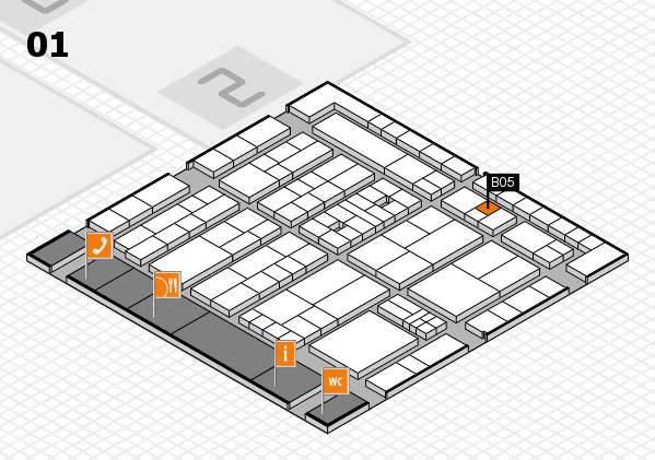 K 2016 hall map (Hall 1): stand B05