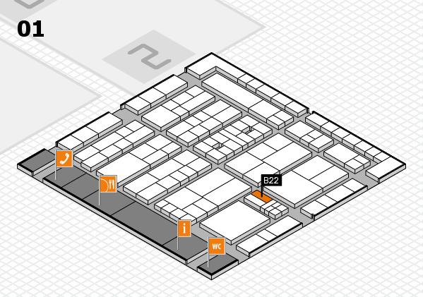 K 2016 hall map (Hall 1): stand B22