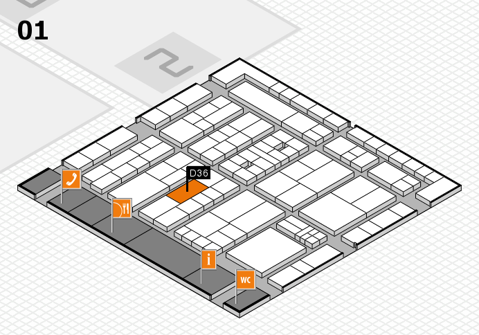 K 2016 hall map (Hall 1): stand D36