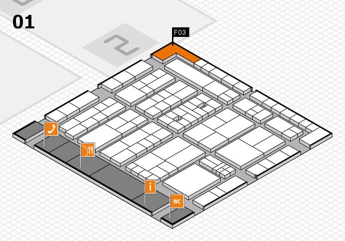 K 2016 hall map (Hall 1): stand F03