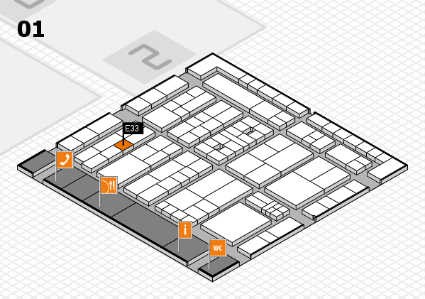 K 2016 hall map (Hall 1): stand E33