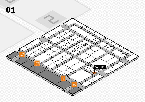 K 2016 hall map (Hall 1): stand A25-01