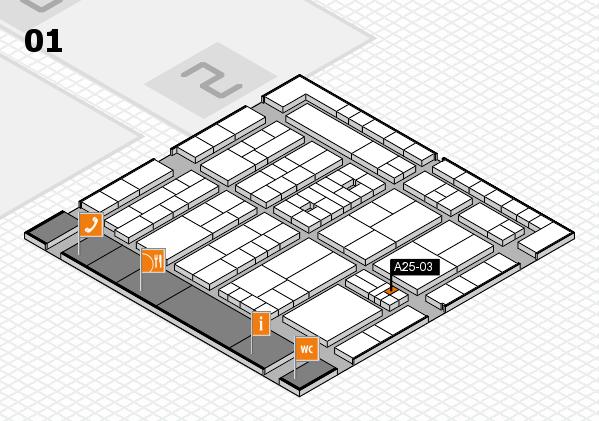 K 2016 hall map (Hall 1): stand A25-03
