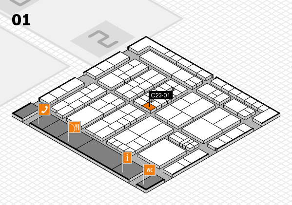 K 2016 hall map (Hall 1): stand C23-01