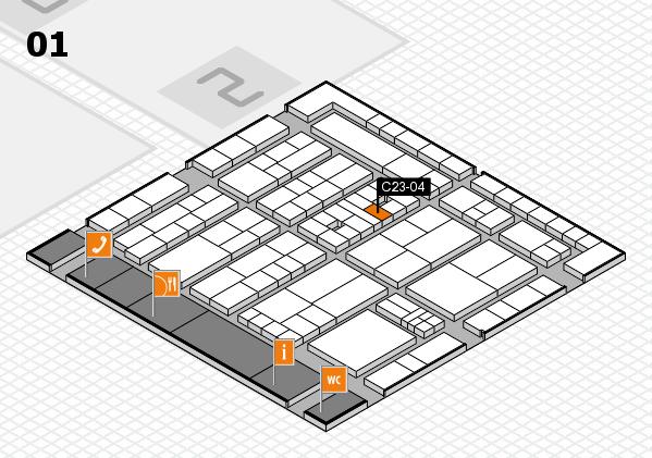 K 2016 hall map (Hall 1): stand C23-04