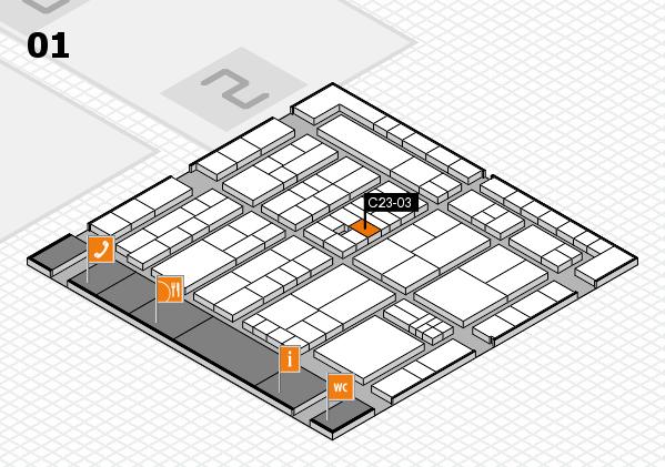 K 2016 hall map (Hall 1): stand C23-03