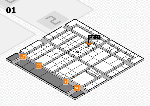 K 2016 hall map (Hall 1): stand C23-07