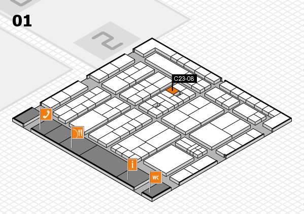 K 2016 hall map (Hall 1): stand C23-08
