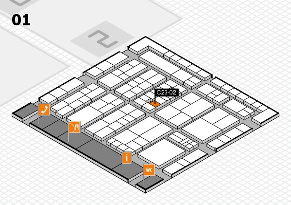 K 2016 hall map (Hall 1): stand C23-02