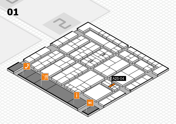 K 2016 hall map (Hall 1): stand A25-04