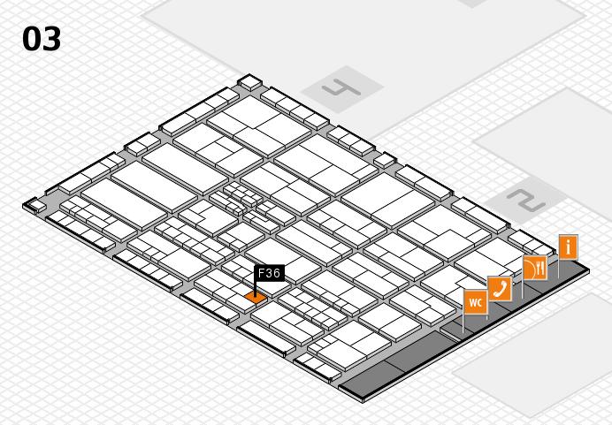 K 2016 hall map (Hall 3): stand F36