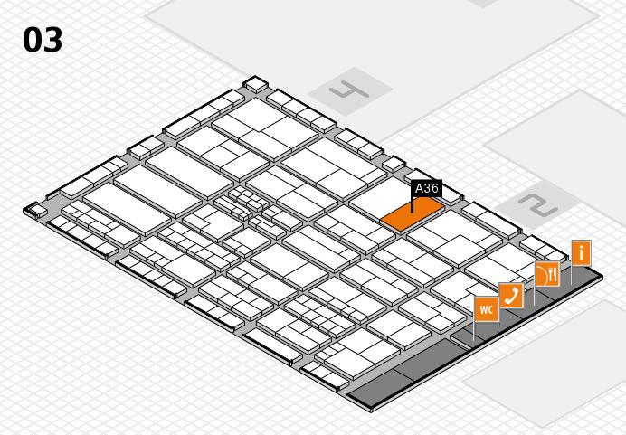 K 2016 hall map (Hall 3): stand A36