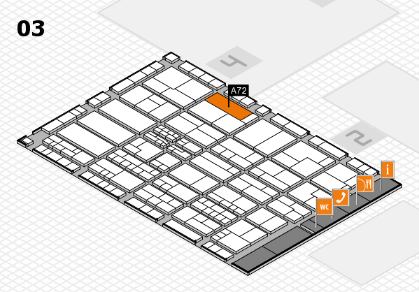 K 2016 hall map (Hall 3): stand A72