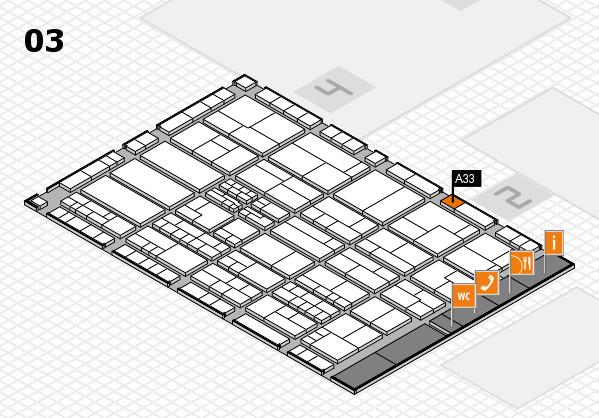 K 2016 hall map (Hall 3): stand A33