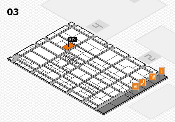 K 2016 hall map (Hall 3): stand B74