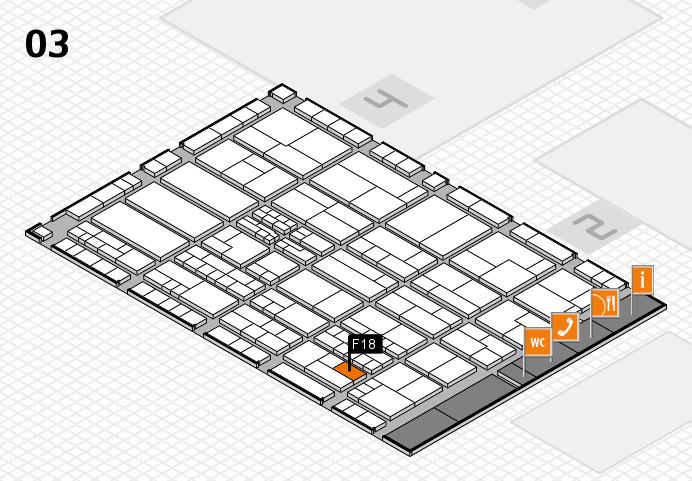 K 2016 hall map (Hall 3): stand F18