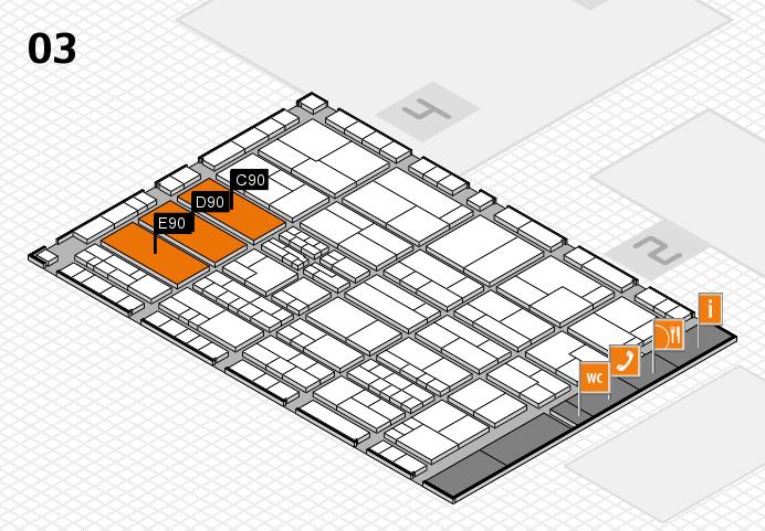 K 2016 hall map (Hall 3): stand C90, stand E90
