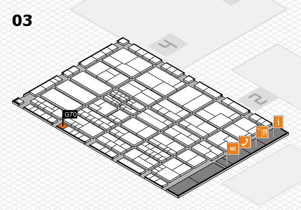 K 2016 hall map (Hall 3): stand G70