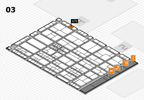 K 2016 hall map (Hall 3): stand A76