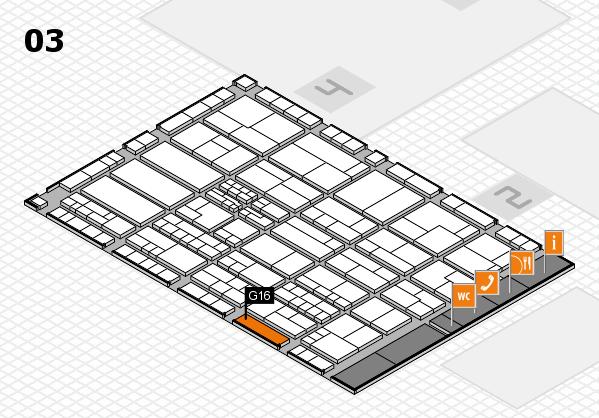 K 2016 hall map (Hall 3): stand G16