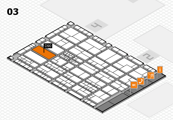 K 2016 hall map (Hall 3): stand D90