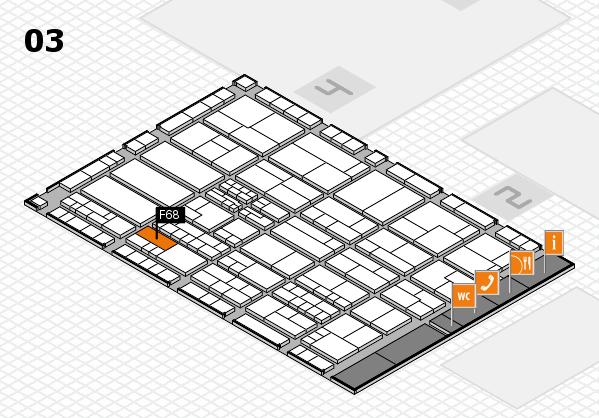 K 2016 hall map (Hall 3): stand F68