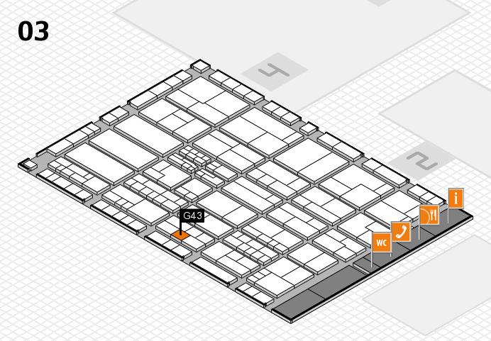 K 2016 hall map (Hall 3): stand G43
