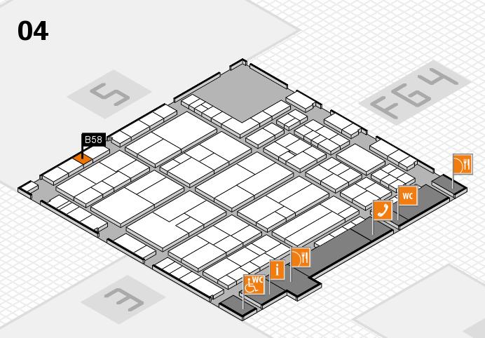 K 2016 hall map (Hall 4): stand B58