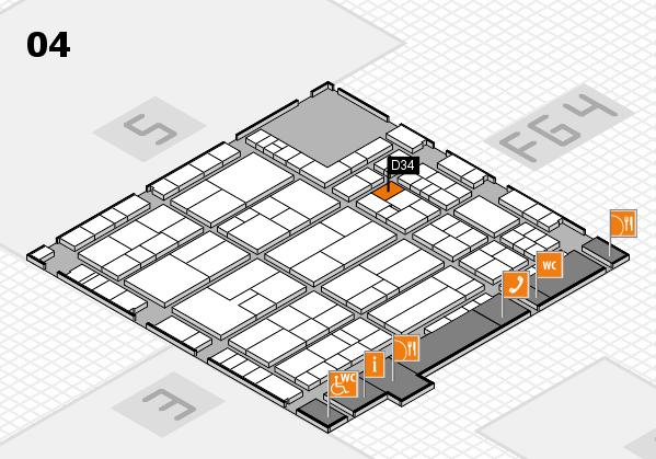 K 2016 hall map (Hall 4): stand D34